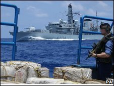 HMS Iron Duke with drugs on fishing boat MV Cristal