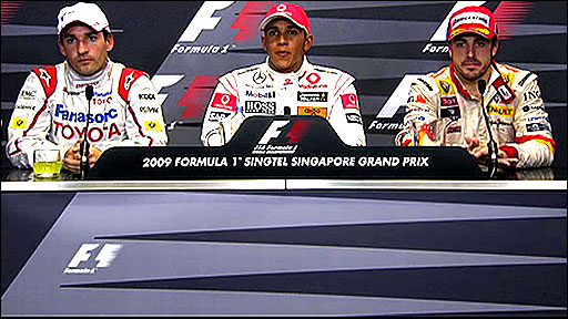 Top three drivers at Singapore GP