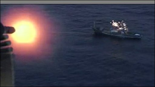 Navy firing on vessel