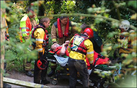 One of the casualties is brought up from the River Dee (Pic: Vic Cleveley)