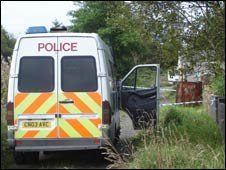 Police van in lane