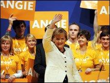 Angela Merkel at a campaign rally in Berlin