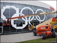 Preparations are made for the 121st IOC Session XIII Olympic Congress in Copenhagen (27 September 2009)