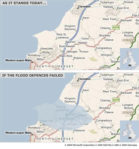 Flood map of North Somerset