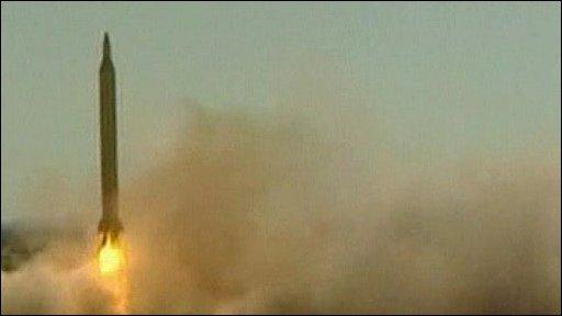 Iranian Shahab-3 missile launching