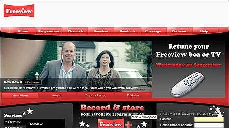 Freeview's homepage