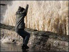 Wave crashing against Weston's sea wall