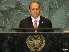 Gen Thein Sein addresses the UN General Assembly, September 28 in New York