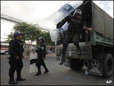 Honduran police at Brazilian Embassy