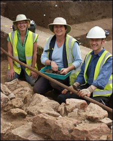 The dig team at Weston College, Lyn Hume (l), Donna Young and Peter Janick.