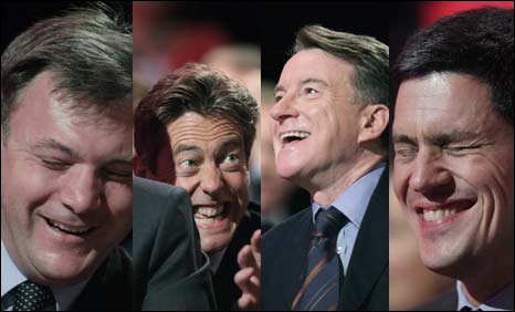 Ed Balls, Ben Bradshaw, Peter Mandelson and David Miliband enjoying themselves at the Labour conference
