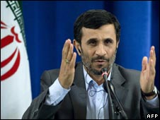 Irans President Mahmoud Ahmadinejad speaking in New York  25/9/09