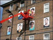 Art on flats in Hackney