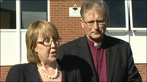 Headteacher Dr Julie Roberts and Rt Rev Christopher Cocksworth