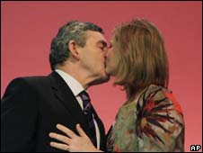 Gordon and Sarah Brown kiss at the Labour conference