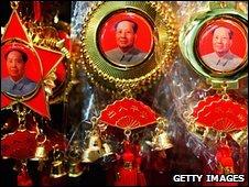 Decorations depicting Mao Zedong