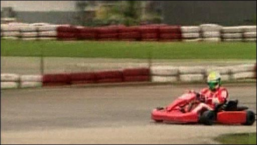 Felipe Massa in a go-kart