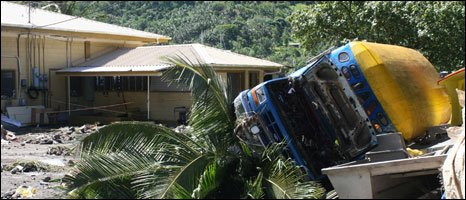 Car through a window in Samoa (image courtesy of Alden P. Tagarino, Wildlife Biologist)