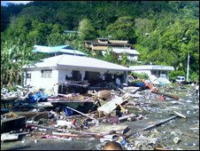 Tsunami damage on islands in the South Pacific
