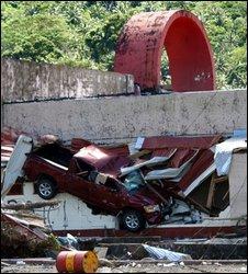 Tsunami damage in Pago Pago, American Samoa