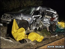 The car which was hit by a train [Pic: John Baikie]