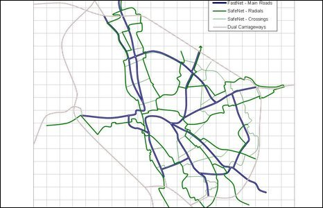 Dual cycling routes in Oxford