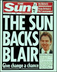 Sun front page in 1997 supporting Tony Blair