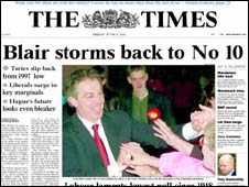 The Times' front page in 2001