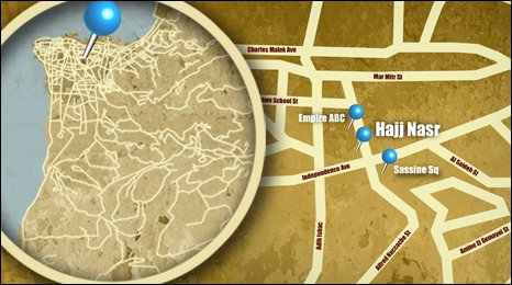 Map shows the location of Hajj Nasr