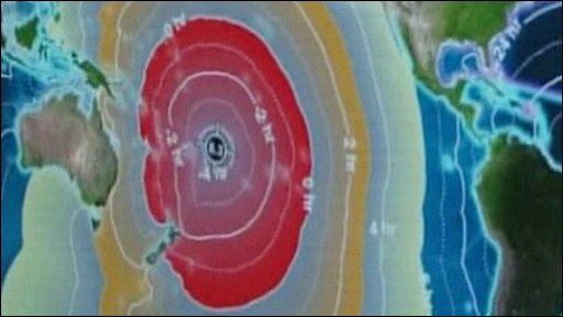 Computer graphic showing tsunami's epicentre
