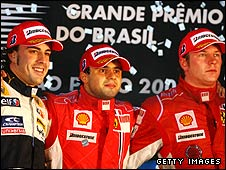 Fernando Alonso, Felipe Massa and Kimi Raikkonen on the podium after the 2008 Brazilian Grand Prix