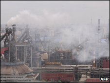 Beijing steel works belching pollution