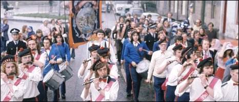 BBC still of a play about parades in Scotland