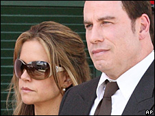 John Travolta and Kelly Preston arrive at court