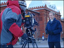 Stephen filming the programme introduction in Moscow