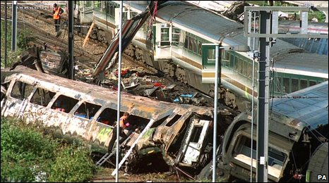 Rescue workers at the scene of the Ladbroke Grove rail crash