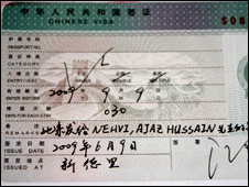 The new hand-written visa in Aejaz Hussain's passport (Photo: Irshad Khan)
