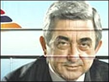 File pic of poster showing Serge Sarkisian