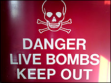 Danger - Live Bombs - Keep Out sign