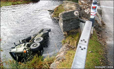 Army truck in river at Laxford Bridge