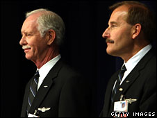 Capt Chesley Sullenberger (L) and First Officer Jeffrey Skiles