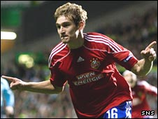Nikica Jelavic celebrates his early goal