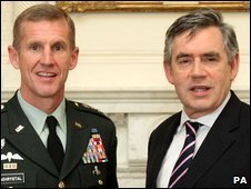 Gen Stanley McChrystal and Gordon Brown