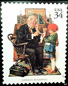 US postage stamp illustrated by Norman Rockwell