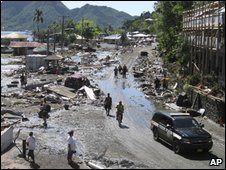 Devastation in Pago Pago village, American Samoa, 30 Sept