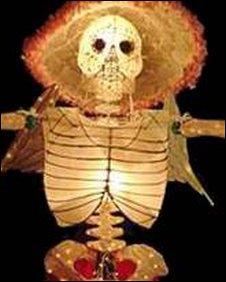 Skeleton made of lanterns