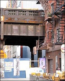 Railway bridge above street