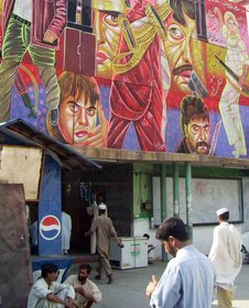 Mingora residents enter the cinema house