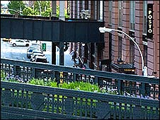The High Line park with street below