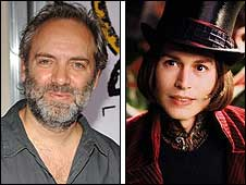 Sam Mendes and Johnny Depp as Willy Wonka